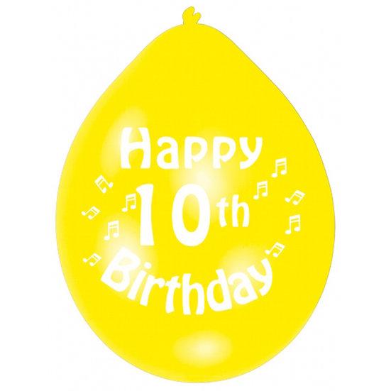 "9"" Happy 10th Birthday Latex Balloons"