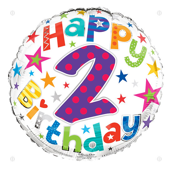 """2nd Birthday - Colours/Stars 18"""" Foil"""