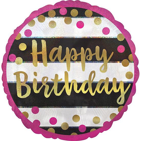 "Happy Birthday - Gold/Pink Spots 18"""