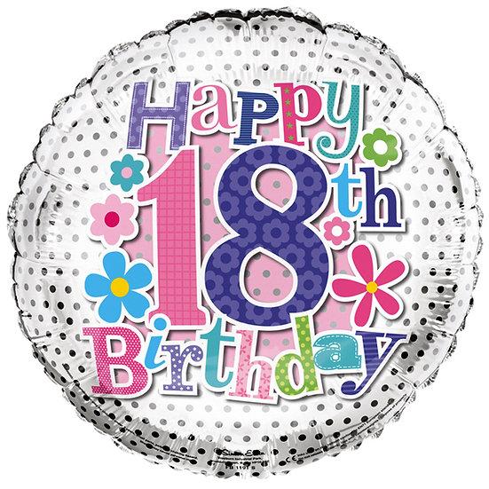 "Happy 18th Birthday - Flowers 18"""