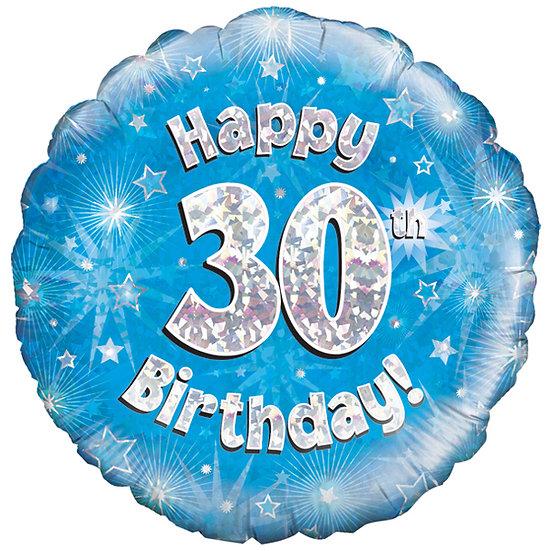 """Happy 30th Birthday - Blue 18"""""""