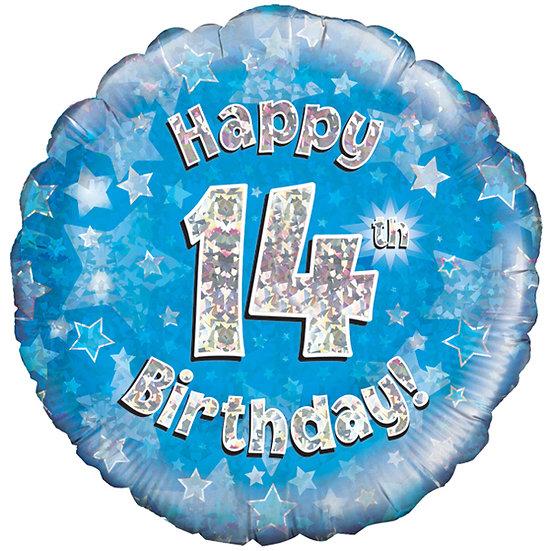 """Happy 14th Birthday - Blue 18"""""""