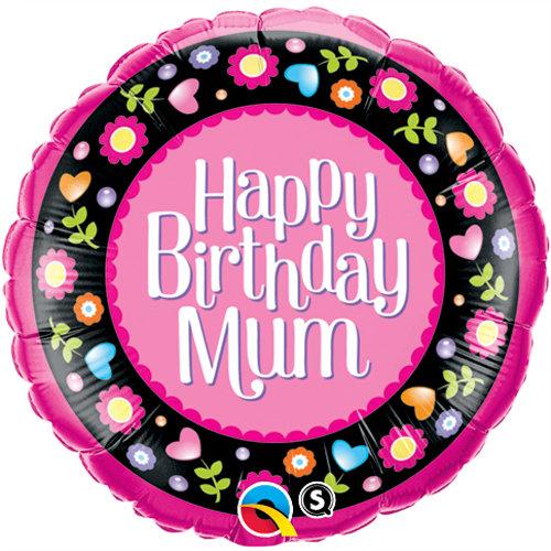 "Happy Birthday Mum Floral Pink - 18"" Foil"