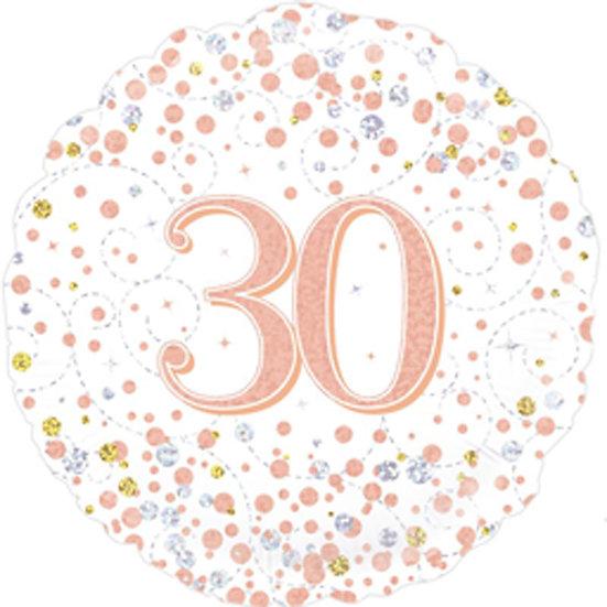"30th Birthday - Rose Gold Swirls 18"" Foil"