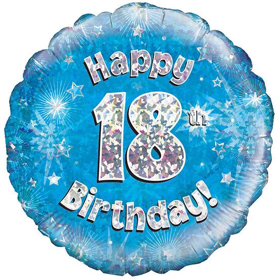 """Happy 18th Birthday - 18"""" Blue"""
