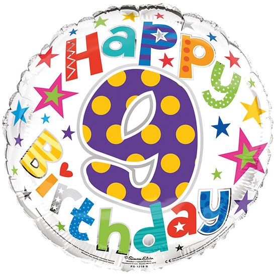 "Happy 9th Birthday - Stars 18"" Foil"