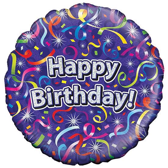"Purple Swirls Happy Birthday - 18"" Foil"