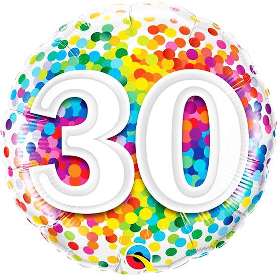 "30th Spotty Birthday - 18"" Foil"