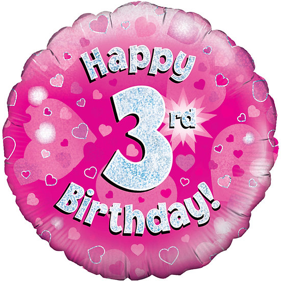 "Happy 3rd Birthday Pink - 18"" Foil"