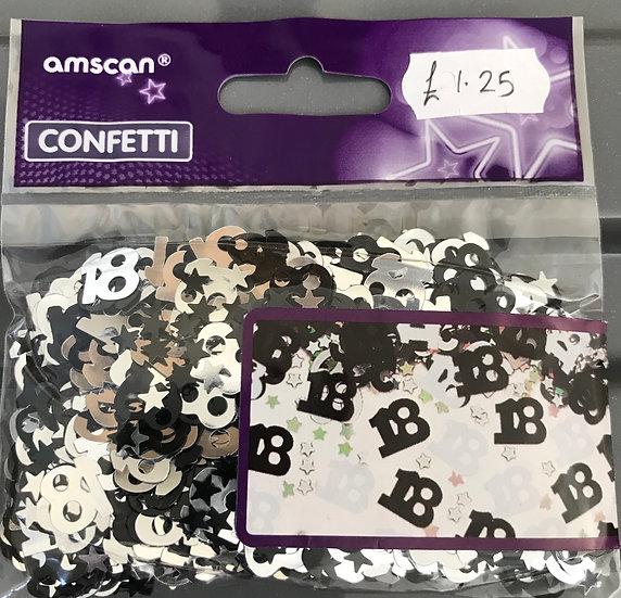 Table Confetti - Age 18 Black/Silver