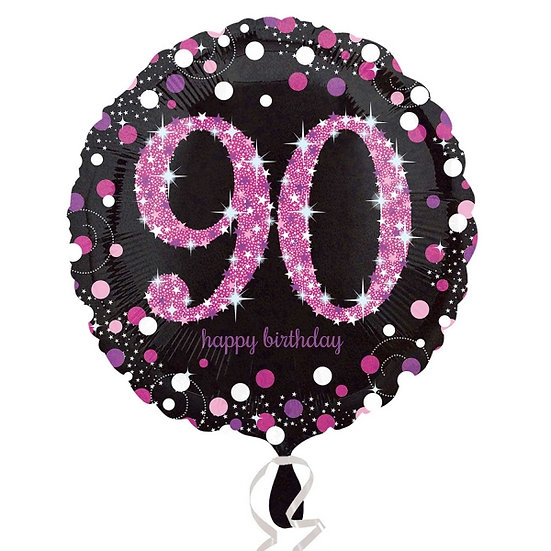 "Happy 90th Birthday - Black/Pink 18"""