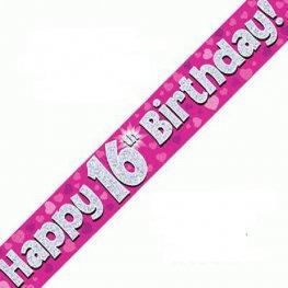 Happy 16th Birthday Banner - Pink