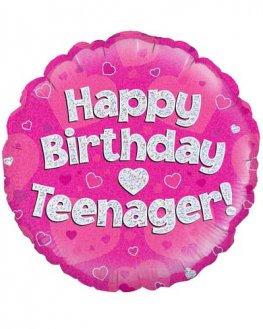 "Happy Birthday Teenager - Pink 18"""