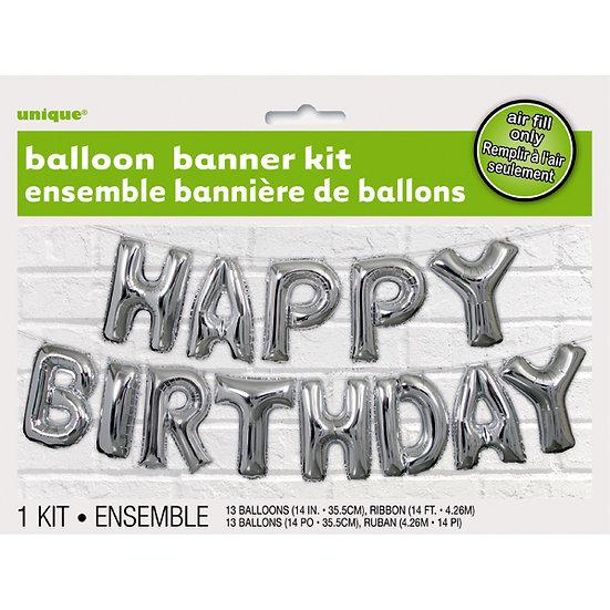 Silver Happy Birthday Air Fill Balloon Kit