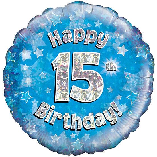 """Happy 15th Birthday - Blue 18"""""""