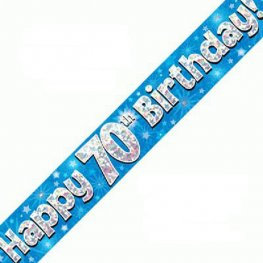 Happy 70th Birthday Banner - Blue