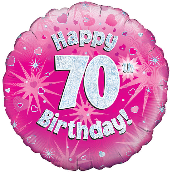 "Happy 70th Birthday Pink - 18"" Foil"