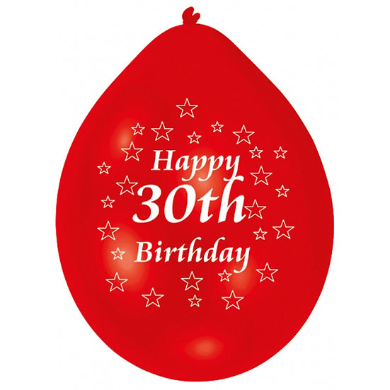 "9"" Happy 30th Birthday Latex Balloons"