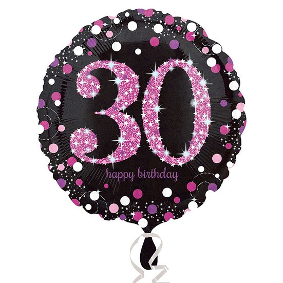 "30th Birthday Pink/Black Glitter - 18"" Foil"