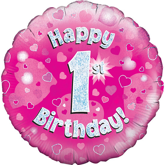 "Happy 1st Birthday Pink - 18"" Foil"