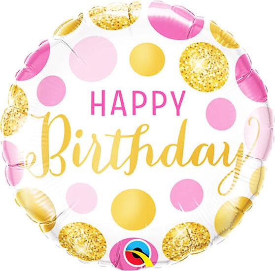 Happy birthday - Gold/Pink Balls