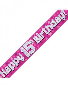 Happy 15th Birthday Banner - Pink