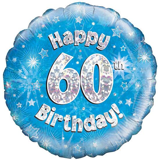 """Happy 60th Birthday - Blue/Silver 18"""" Foil"""