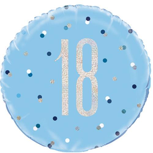 """Light Blue & Silver Number 18 - 18"""" Foil"""