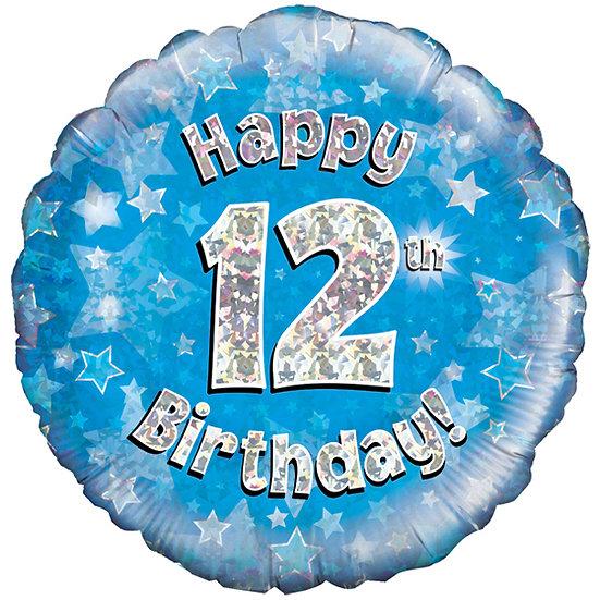 """Happy 12th Birthday - Blue 18"""""""