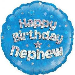 """Happy Birthday Nephew Blue 18"""" Foil"""