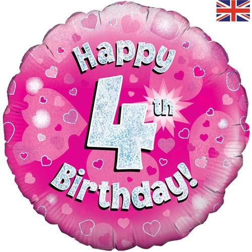 "Happy 4th Birthday - Pink 18"""