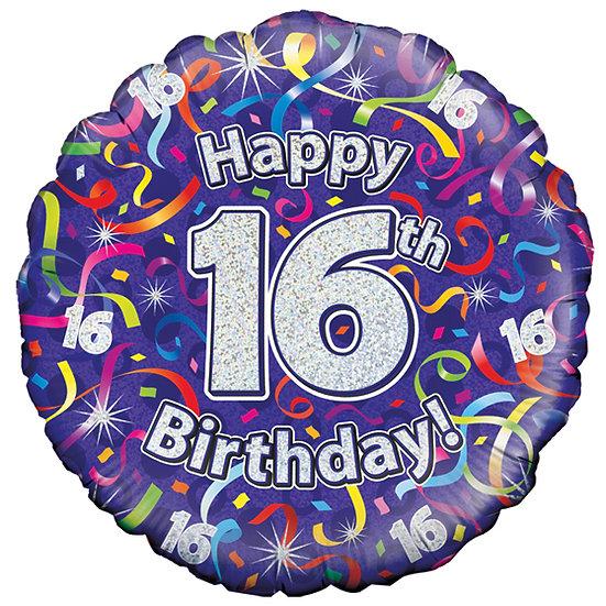 "Happy 16th Birthday Purple Jazzy - 18"" Foil"