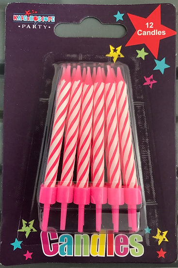 Pack of 12 Pink Party Candles
