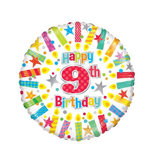 "Happy 9th Birthday - Candles 18"""
