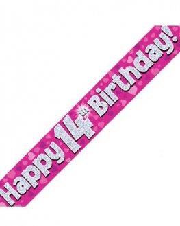 Happy 14th Birthday Banner - Pink