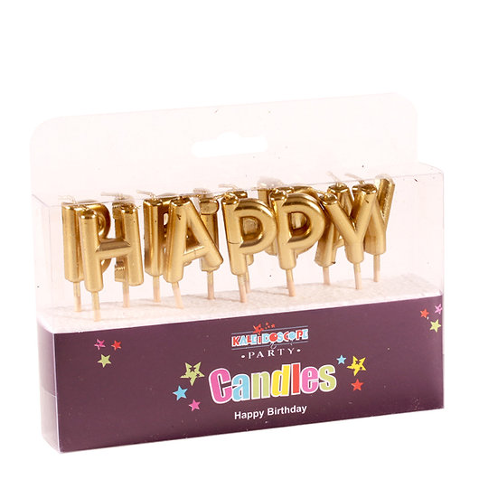 Happy Birthday Candle - Gold