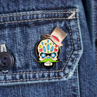 Product shot of the Spaceman Creative Studio 'Day of the Dead' pin badge.