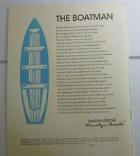 The Boatman by Carolyn Forche $45 (Signed, Numbered 1st Edition Broadside)