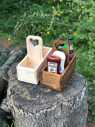 Rustic Wooden Condiment Caddy