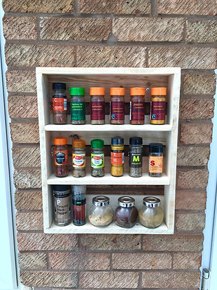 Rustic Wooden Spice Rack - Wall Mounted