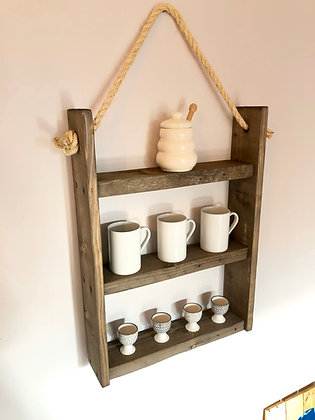 Rustic Hanging Ladder Shelf With Rope - Grey Stain