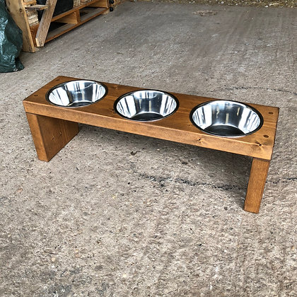 3 Bowl Wooden Dog Feeder Stand -Various Heights And Colours