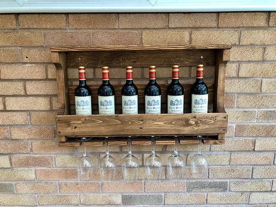 Rustic Wooden Wine Rack & Shelf - Wall Mounted - Medium Oak