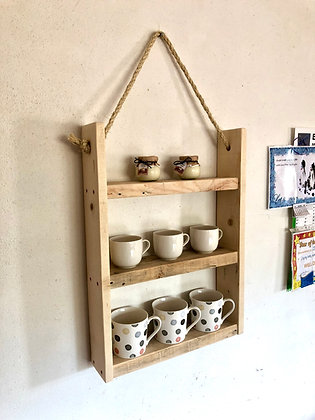 Rustic Hanging Ladder Shelf With Rope