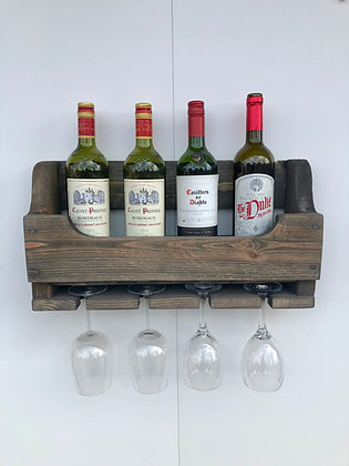 Rustic Wooden Wine Gin Rack - Grey