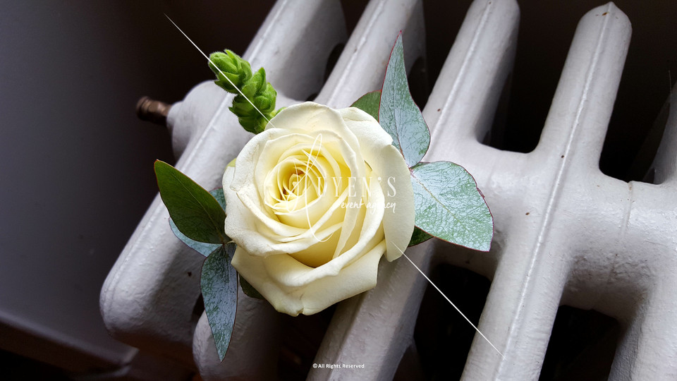 Boutonnière du marié blanc