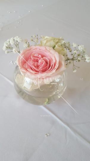 Bulle florale rose pâle & blanc