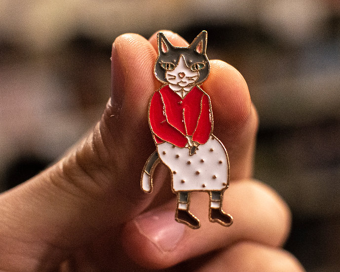 Anthropomorphic Cat Enamel Pin
