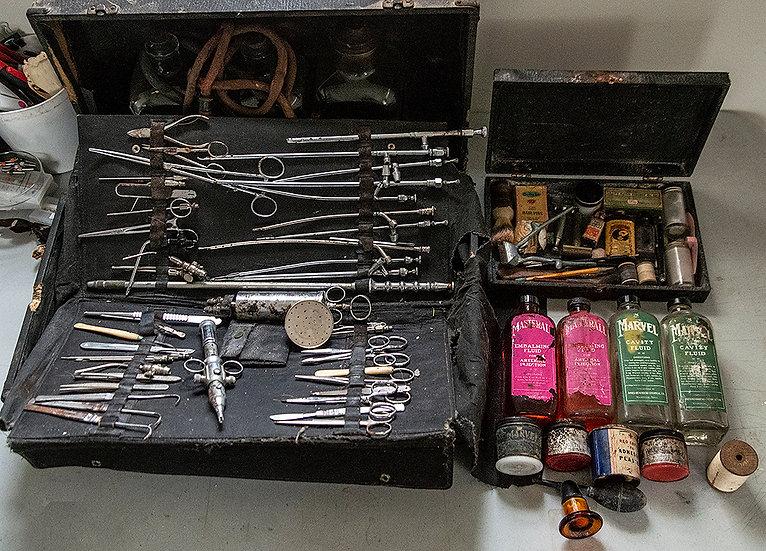 Antique Embalming Kit - Instruments, Fluid, Cosmetics, Pump & More