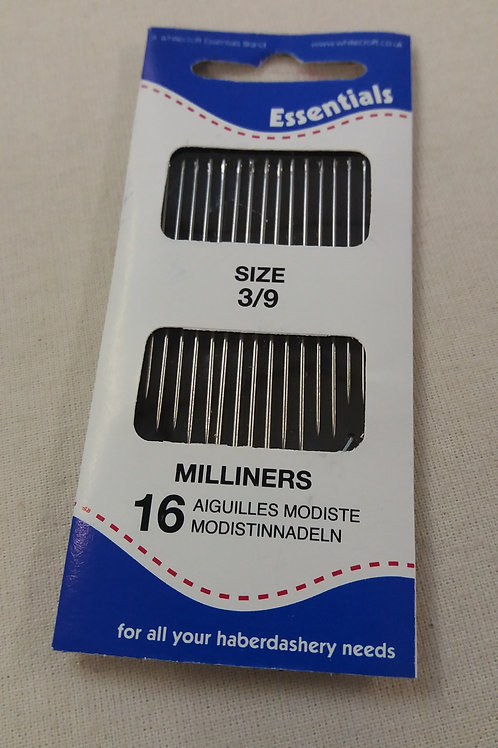 Millinery needles 3/9  16 in pack